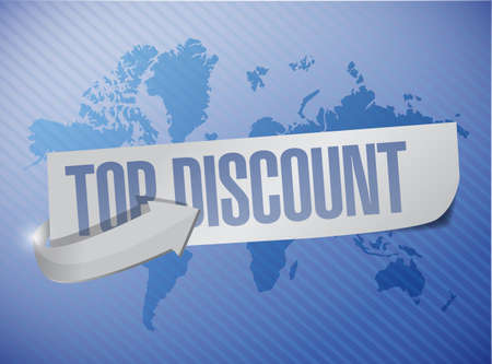 best ad: top discount message sign illustration design over a world map background