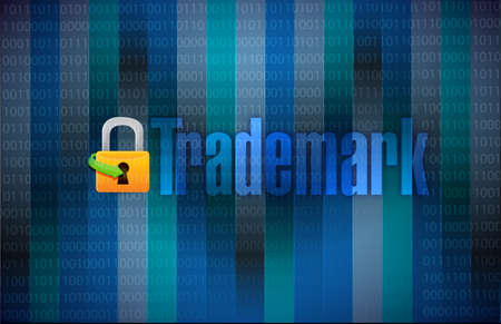 branded product: trademark binary background illustration design over binary background Stock Photo