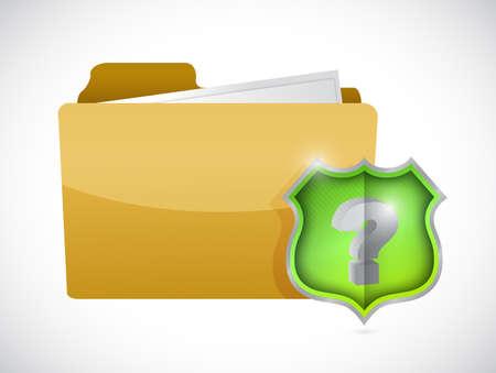 folder and question mark shield illustration design over white