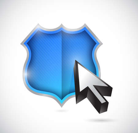 shield and cursor illustration design over a white background Stock Photo