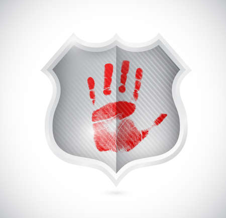 handprint stop spam shield illustration design over white illustration