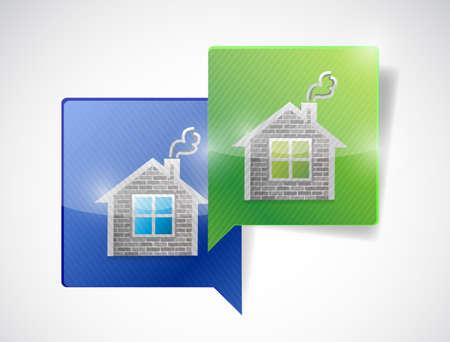 immovable property: real estate home message communication concept. illustration design