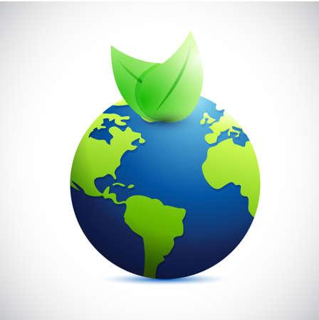 globe and natural leaves. illustration design over a white background Reklamní fotografie