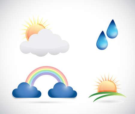 cuatro elementos: iconos del tiempo de diseño ilustración sobre un fondo blanco Foto de archivo