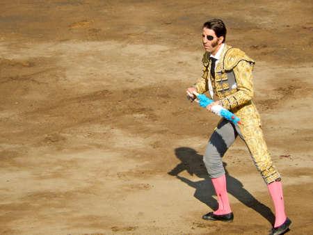 capote: LIMA, PERU - NOV 2013: famous Spanish torero Juan Jose Padilla. Brave bullfighter