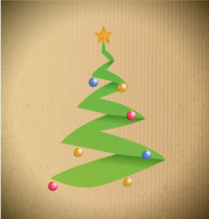 christmas tree illustration design over a cardboard background Stock Photo