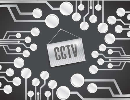 cctv circuit board with sign. illustration design over a black background Stock Illustration - 24181618