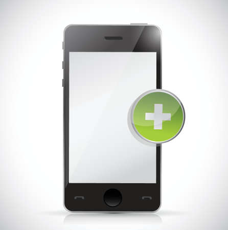 phone and plus button illustration design over white