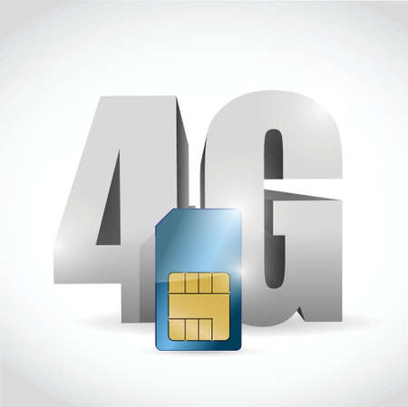 4G connection and sim card illustration design over a white background Vector