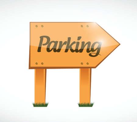 parking wood sign illustration design over a white background Vector