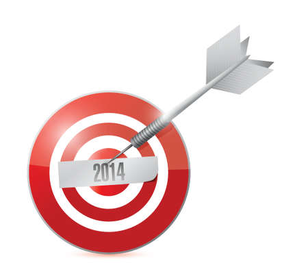 2014 year on the target. illustration design over a white background  イラスト・ベクター素材