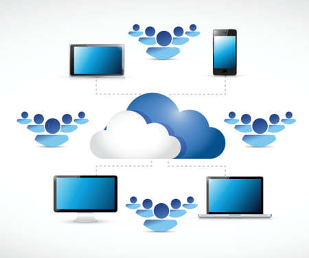 cloud computing connection network illustration design over a white background