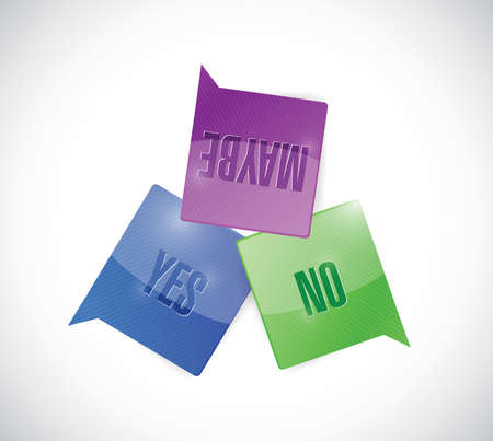 yes, no and maybe message bubbles illustration design over a white  Vector