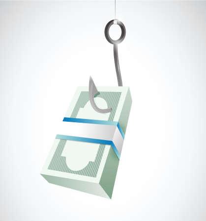 fishing for money. concept illustration design over a white  Illustration