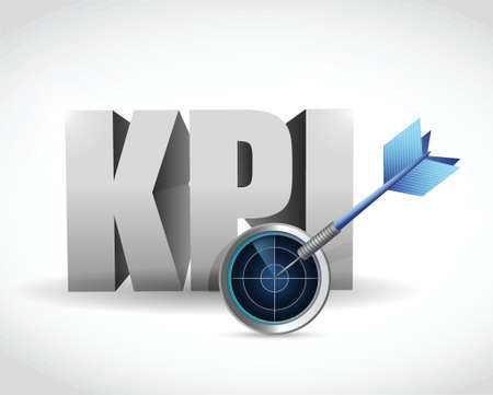 kpi radar sign illustration design over a white  Vector