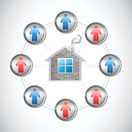 home network illustration design over a white