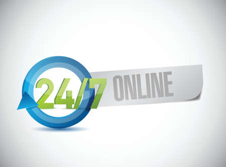24 7 online service illustration design over a white