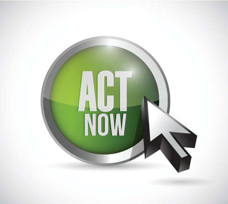 act now button illustration design over a white  Vector