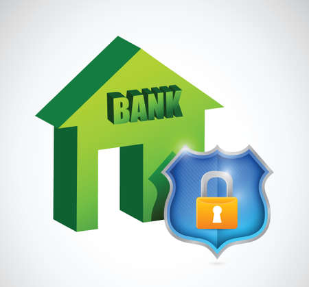 bank security protection illustration design over a white Stock Vector - 24378121