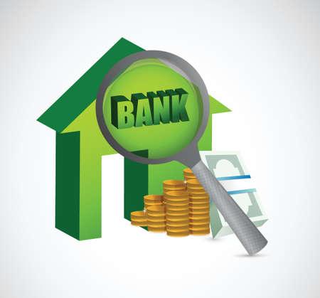 bank under investigation concept illustration design over a white  Stock Vector - 24378122
