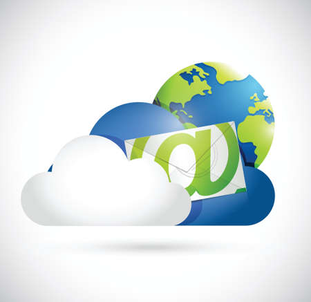 software engineering: contact us cloud computing communication concept illustration design over a white