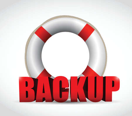disaster recovery: lifesaver backup sign illustration design over a white background