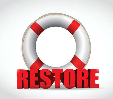 back belt: sos restore sign illustration design over a white background