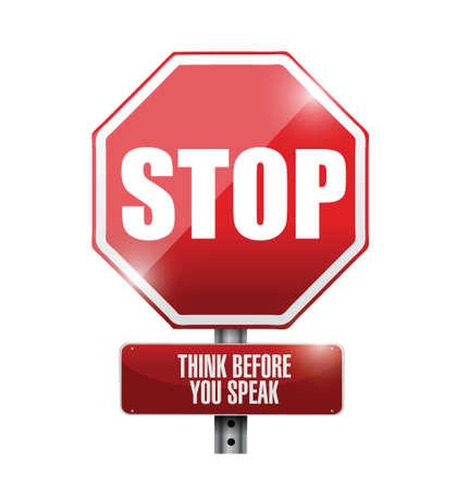 stop think before you speak sign illustration design over a white background Stock Illustratie
