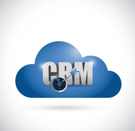 crm: cloud computing crm sign illustration design over a white background