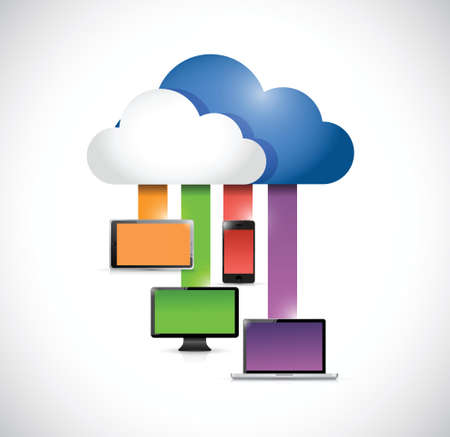 colors: cloud computing network connection illustration design over a white background