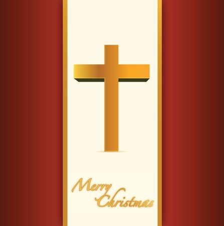 religious cross: christian or catholic merry christmas card. illustration design