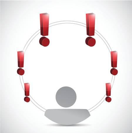 exclamation marks around an avatar. illustration design over a white background