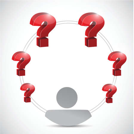 indecisive: questions flying around concept illustration design over a white background