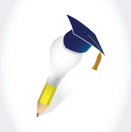 convocation: graduation hat and light bulb idea pencil illustration design over a white background Illustration