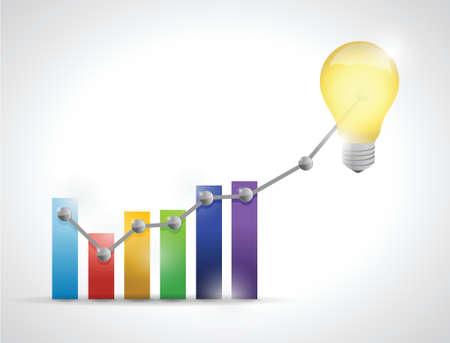 precios de las acciones subir gráfico. diseño de ilustración sobre un fondo blanco Ilustración de vector