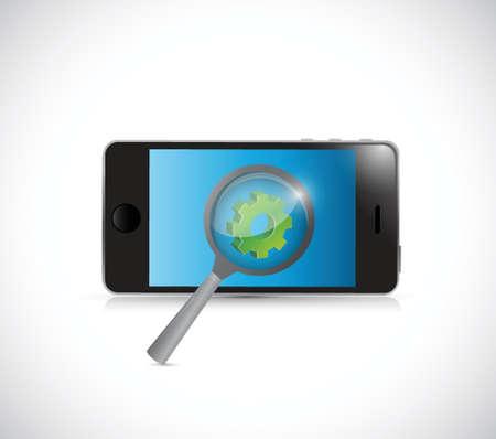 携帯電話業界研究概念イラスト デザイン、白い背景の上  イラスト・ベクター素材