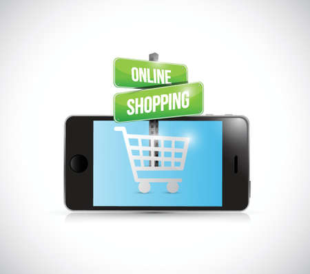 smartphone online shopping sign illustration over a white background