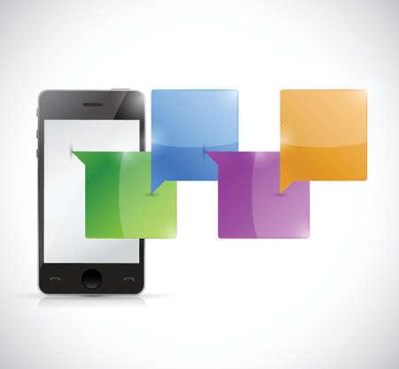 白い背景の上電話チャット コミュニケーション コンセプト イラスト デザイン