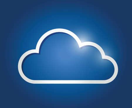 white border cloud illustration design over a blue background