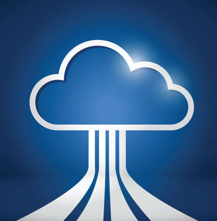 cloud computing network connections illustration design over a blue background