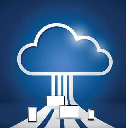 cloud computing electronics network illustration design over a blue background Vector
