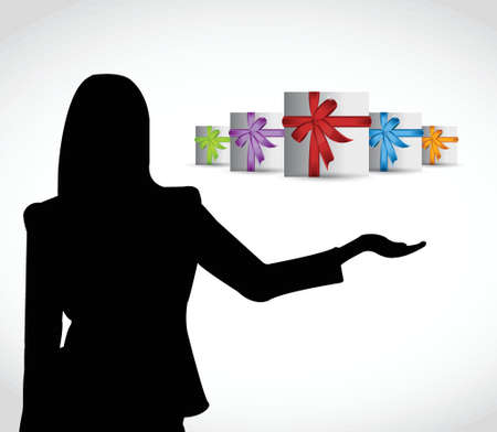 gift presentation illustration design over a white background Vector