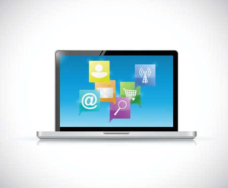 novelty: laptop internet network communication concept illustration design over a white background Illustration