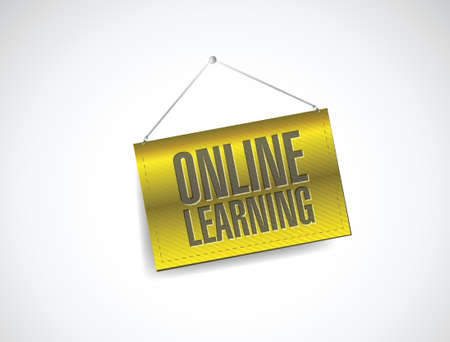 studing: online learning hanging banner illustration design over white