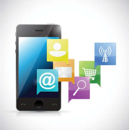 novelty: phone internet network communication concept illustration design over a white background Illustration