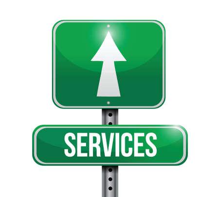 miles: services road sign illustration design over a white background Illustration