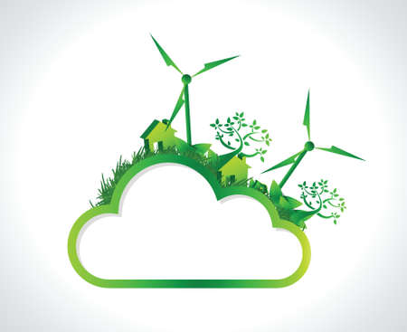 energy conservation: green cloud hanging banner illustration design over a white background