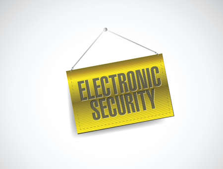 electronic security: electronic security hanging banner illustration design over a white background
