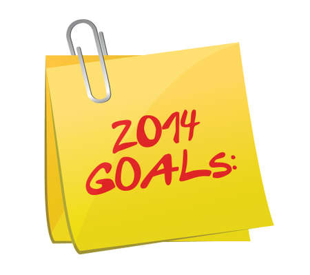 two thousand and fourteen: 2014 goals post illustration design over a white background