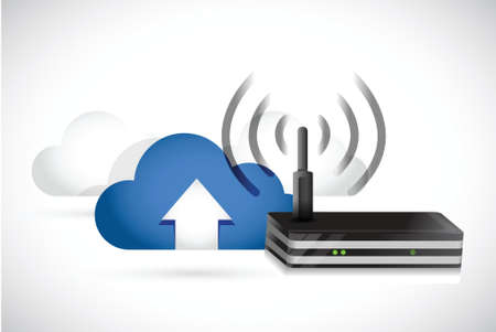 clouds and router illustration design over a white background Vector